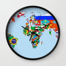 Globe with Flags Wall Clock
