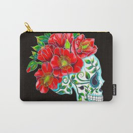 Sugar Skull with Red Poppies Carry-All Pouch