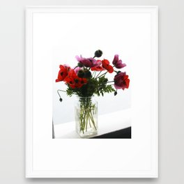 Purple and Red Poppies Still Life Floral Framed Art Print