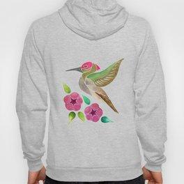 Hummingbird and Petunia Abstract Painting Hoody