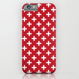 Criss Cross | Plus Sign | Red and White iPhone Case
