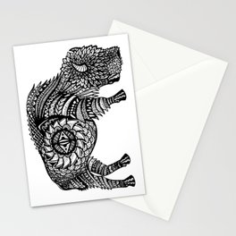 Grazing Buffalo Zentangle (abstract doodle) Stationery Cards