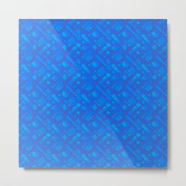 Stylish design with interlaced circles and light blue rectangles of stripes. Metal Print