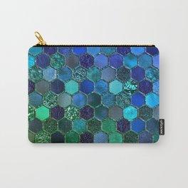 Blue & green geometric hexagonal elegant & luxury pattern Carry-All Pouch