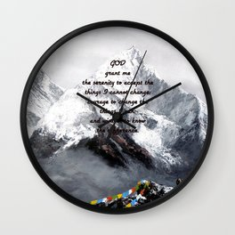 Serenity Prayer With Panoramic View Of Everest Mountain Wall Clock
