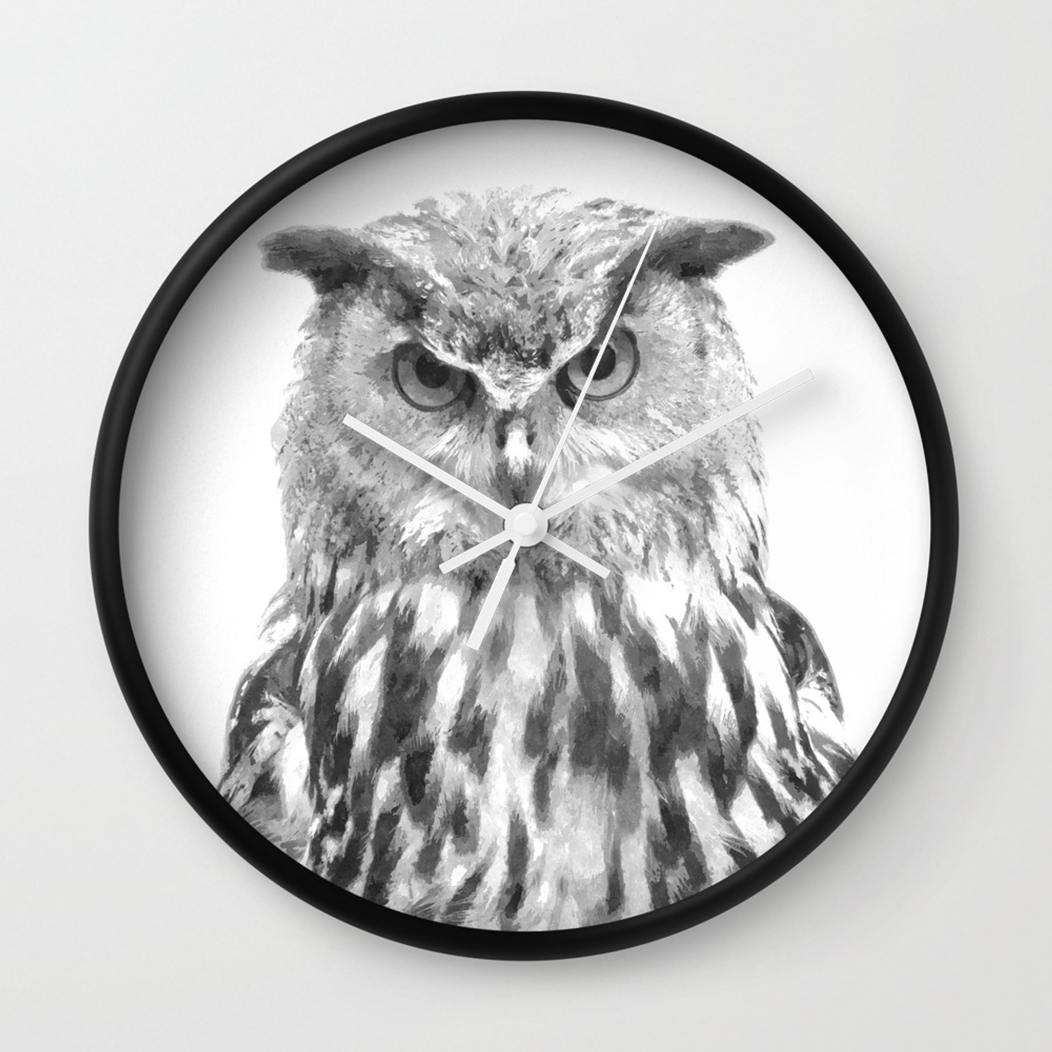 Black and white owl animal portrait wall clock by alemi society6