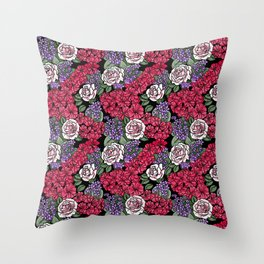 Chevron Floral Black Throw Pillow