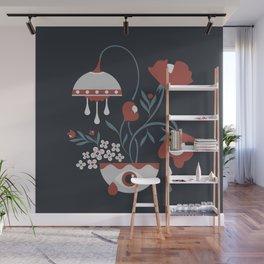 Dark Funky Flowers Wall Mural