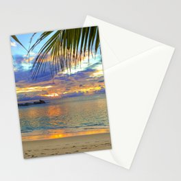 playa tropical naturaleza palmeras mas ocaso Stationery Cards