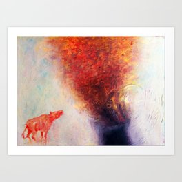 """""""The Red Cow Looks at Volcanic Eruption"""" Art Print"""