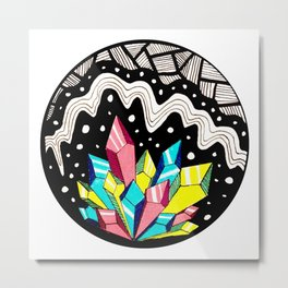 Crystal Cluster in Color Metal Print
