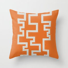Meandering Lines - Orange Throw Pillow
