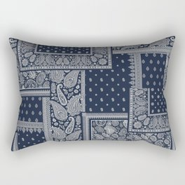 PATCHWORK BANDANA PRINT IN NAVY & WHITE Rectangular Pillow