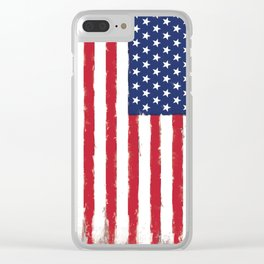 Old American flag Vintage Clear iPhone Case
