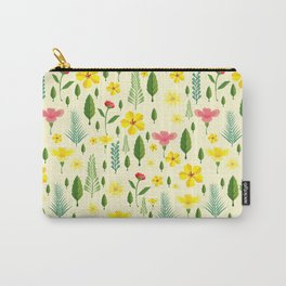Tropical sunshine yellow pink green floral pattern Carry-All Pouch