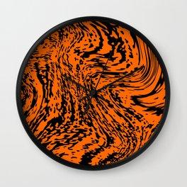 Aggressive orange marble pattern Wall Clock