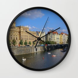 Sunny Day in Prague - View from Legion Bridge Wall Clock