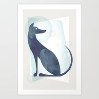 mid century Art Prints featuring Mid-Century Canine by a. peterson