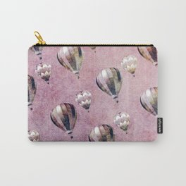 Vintage Hot Air Balloons Pink purple Retro Floral Damask Carry-All Pouch