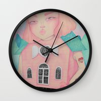 loll3 Wall Clocks featuring Dollhouse by lOll3