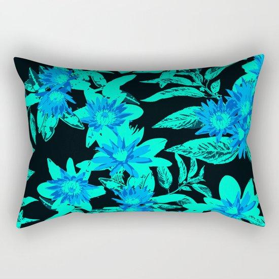 Bright Blue Vintage Blooms Rectangular Pillow
