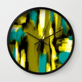 blue yellow black and white painting abstract with green background Wall Clock