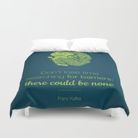 kafka Duvet Covers featuring Don't lose time by Lucia Cillene
