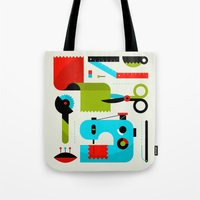 kit king Tote Bags featuring Sewing Kit by koivo