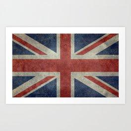UK Flag, Dark grunge 3:5 scale Art Print