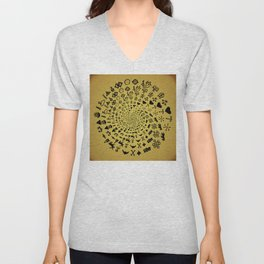 Mandala of Love Symbols from Ancient Cultures on Papyrus Unisex V-Neck