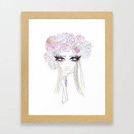 Floral girl Portrait Framed Art Print