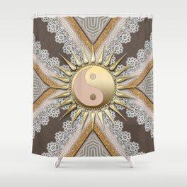 Sunny Yin Yang Gold Lace Shower Curtain