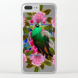 GREY COLOR PINK ROSES &  GREEN PEACOCK ART Clear iPhone Case