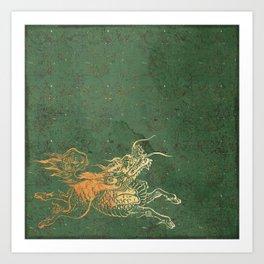 Caravans II:  Asian Print Happy Beast jade green and gold Art Print