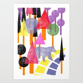 Lost Bear In The Forest Art Print