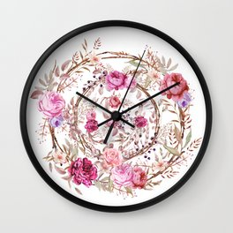 Bouquet of MOST Beautiful Vintage Rose - wreath Wall Clock