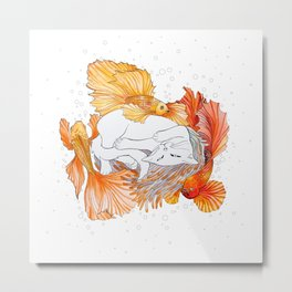 Cat and Golden Fishes Metal Print