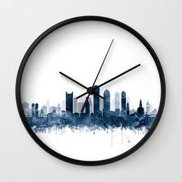 Boston Skyline Navy Blue Watercolor by Zouzounio Art Wall Clock
