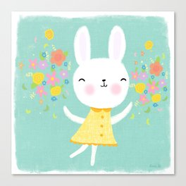 Dancing Garden Bunny Canvas Print