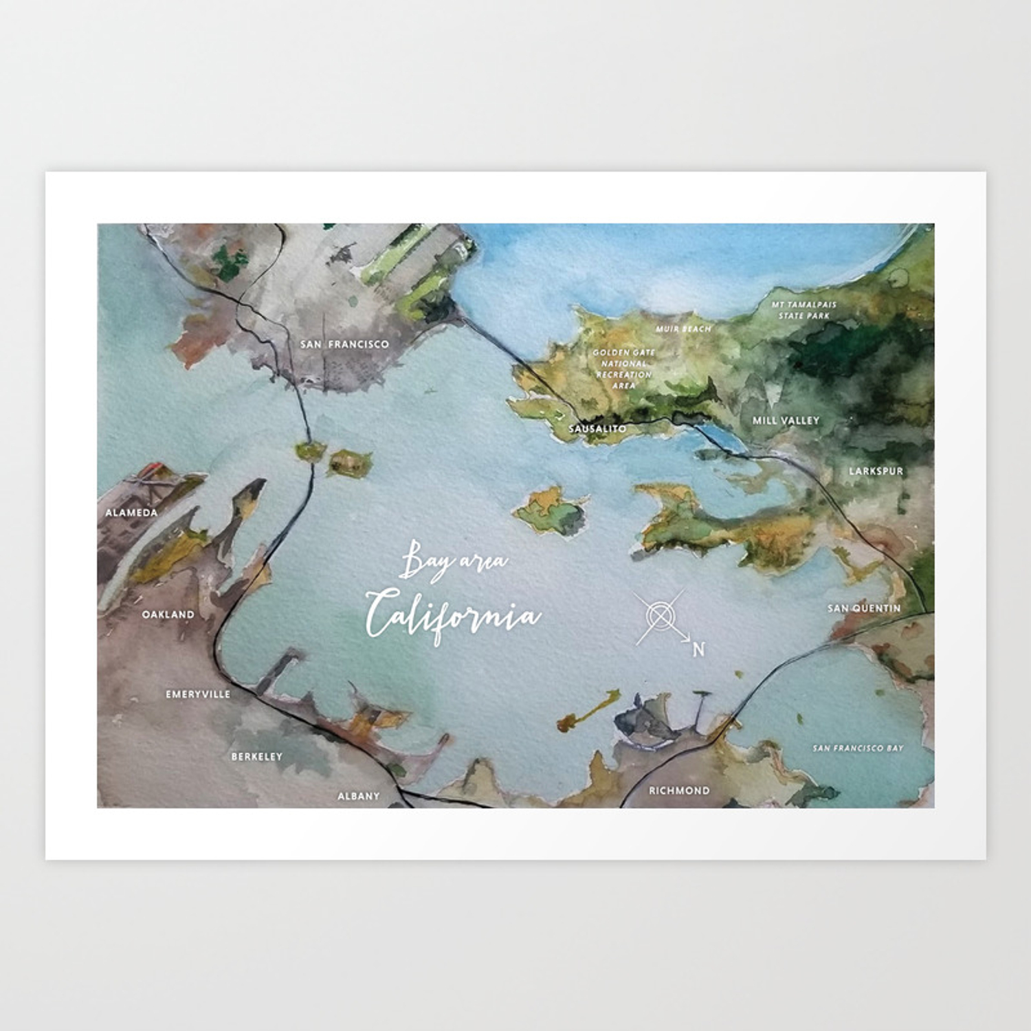 Bay Area Ca Watercolor Map Art Print By Sherigruver Society6 San francisco bay area map photo puzzle (500 pieces) (15193012) framed, poster, canvas prints, puzzles, photo gifts and wall art. bay area ca watercolor map art print by sherigruver