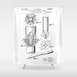 Phillips Screwdriver: Henry F. Phillips Screwdriver Patent Shower Curtain