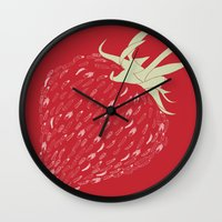 strawberry Wall Clocks featuring Strawberry by Julia Kisselmann