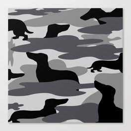Grey Camo Weiner Dogg Canvas Print