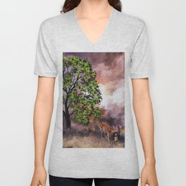 The Deer at the Tree (Color) Unisex V-Neck