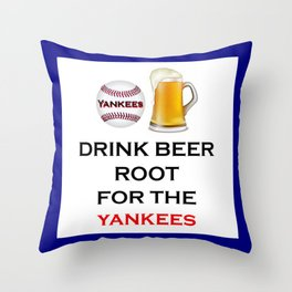 Yankees Team Gifts and Beer, Baseball Team, Sports Fan Clothes Throw Pillow