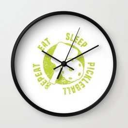 "Nice Gift For Your Sporty Friend ""Eat Sleep Pickleball Repeat"" T-shirt Design Pensioner Nap Doze Wall Clock"