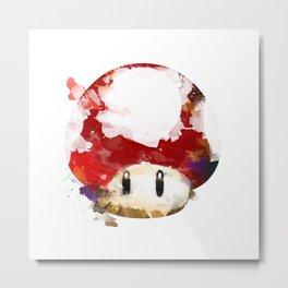 Super Mushroom Watercolor Metal Print
