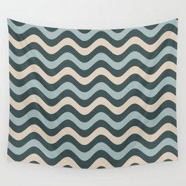 Blue Willow Green & Alpaca Wool Cream Wavy Horizontal Stripes on Night Watch Green Wall Tapestry