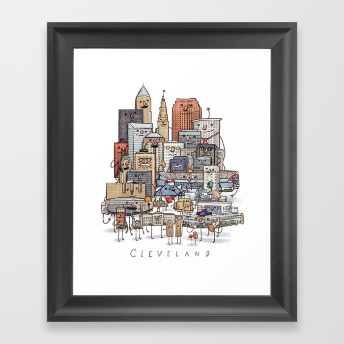 Cleveland Skyline group portrait Gerahmter Kunstdruck