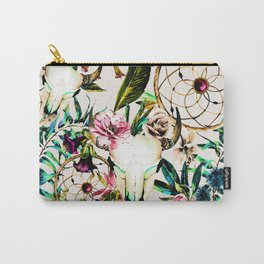 Bohemian Skull Pattern Flowery Vibrant Colors Carry-All Pouch